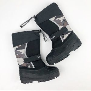 LL Bean Northwoods Black Camo Winter Snow Boots 12